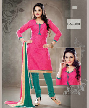 Pink and Teal Green Chudidar Suit