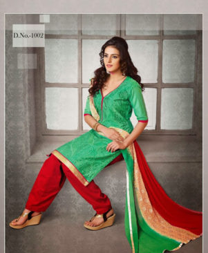 Light Green and Red Chudidar Suit