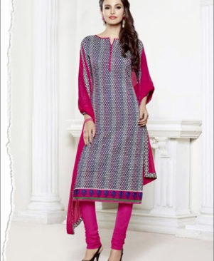 White and Pink Chudidar Suit