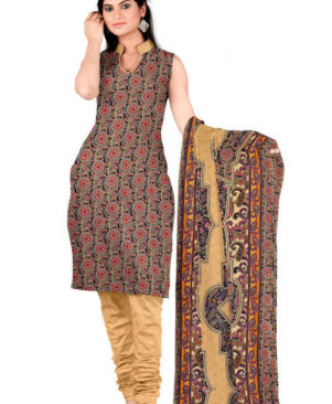 multi coloured crepe embroidered dress material with dupatta