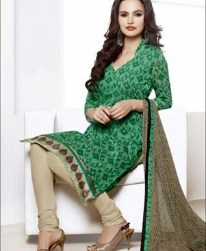 Green and Beige Chudidar Suit