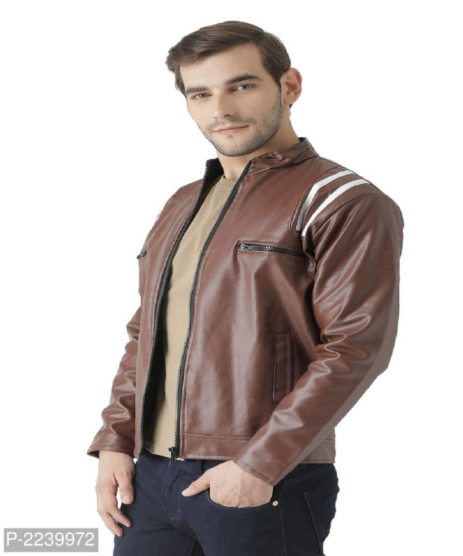 coffee pu leather jacket with fur lining