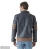 7.2navy blue leather solid jacket