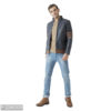 navy blue leather solid jacket