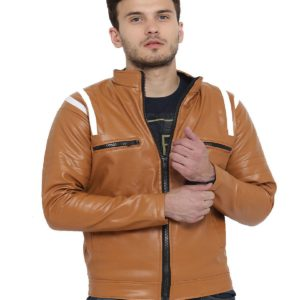 solid pu leather jacket