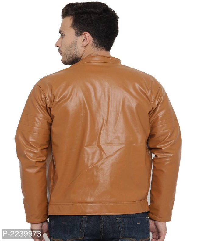 tan solid pu leather jacket