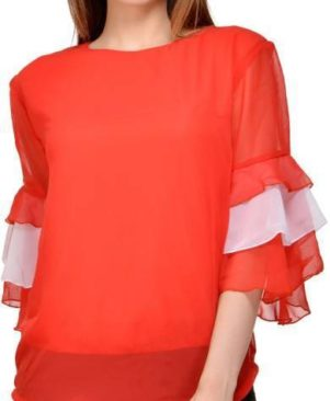 red and white bell sleeve top