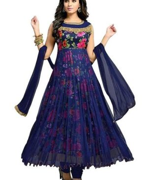 Navy blue embroidered semi stitched ethnic gown