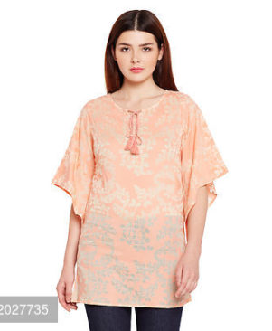 Peach AndBeige Colour Floral Printed cotton tunic