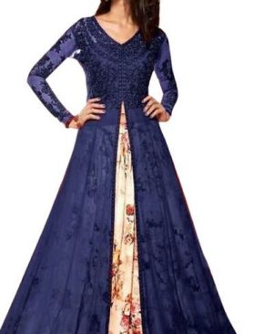 Blue embroidered indo western lehenga
