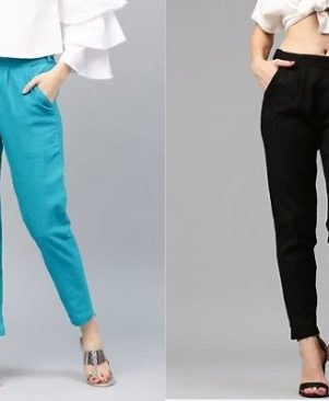 Combo of 2 Slub pants are solid in pattern And Regular fit