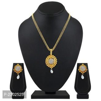 Gleaming Round Shape Gold Plated Pendant Set