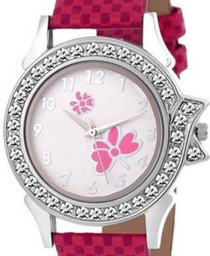 stylish flower print dial pink check synthetic design leather belt watch for girls and women