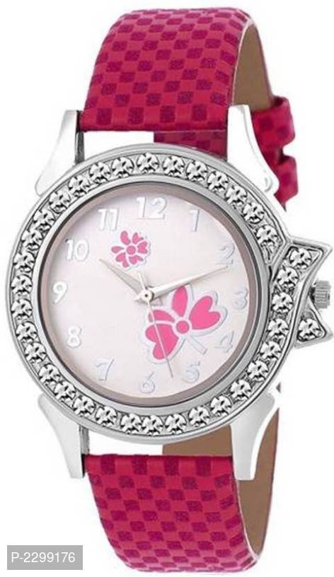 16stylish flower print dial pink check synthetic design leather belt watch for girls and women