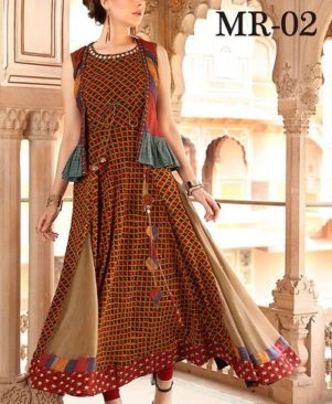 multicolored chanderi cotton stitched gown