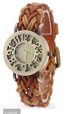 hollow brown analog gold dial women's watch