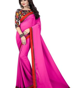 pink Georgette Saree with blouse piece