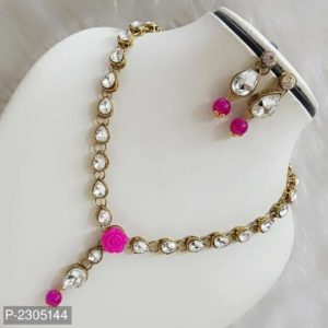 stone necklace pink