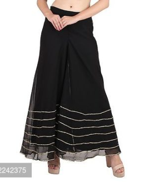 Black Embellished Georgette Trendy Palazzo