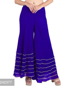 Blue Embellished Georgette Trendy Palazzo