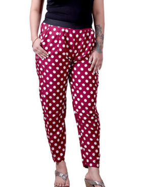 Red Crepe Colourblocked Mid Rise Trouser