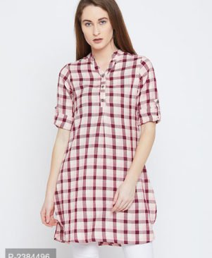 Pink Cotton Checked Tunic