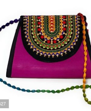 Embroidered Red Multi-Color Sling Bag For Girls/Women