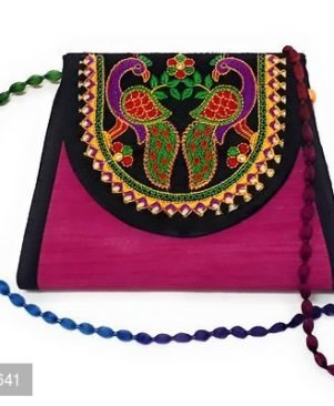 Embroidered Pink Multi-Color Peacock Design Swami Sling Bag