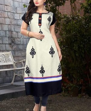 Crepe Printed & Colourblocked Kurta