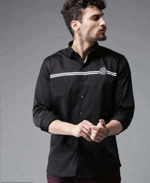 black solid cotton slim fit casual shirts