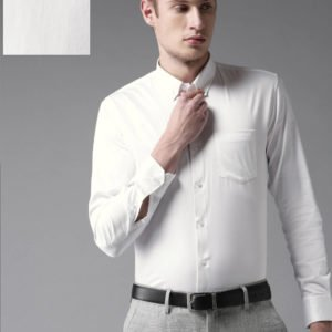 self pattern black solid cotton slim fit casual shirts