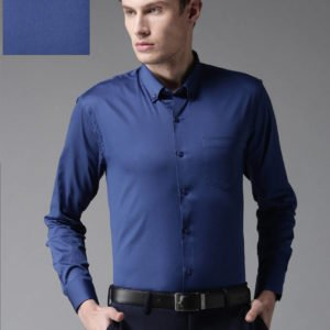 blue solid cotton slim fit casual shirts