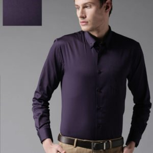 navy blue solid cotton slim fit casual shirts