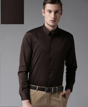 brown solid cotton slim fit casual shirts