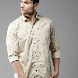 beige solid cotton slim fit casual shirts