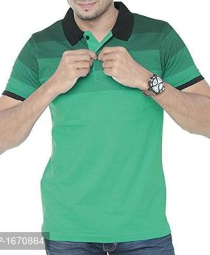 green solid cotton polos