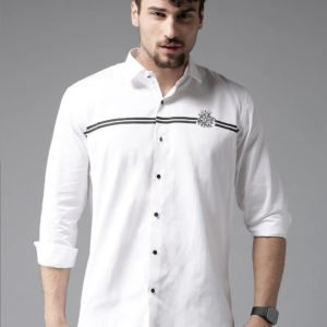 white solid cotton slim fit casual shirts