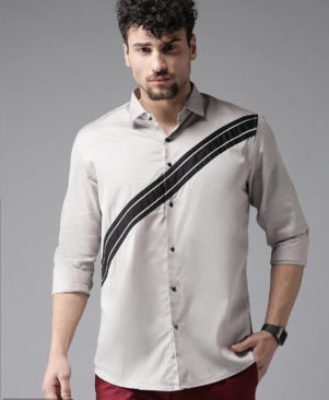 grey solid cotton slim fit casual shirts