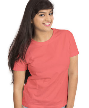 Pink Color Solid Round Neck Tees