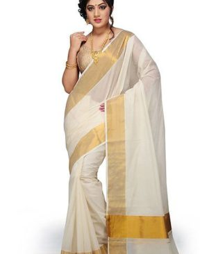 Cotton White Solid Kasavu Saree