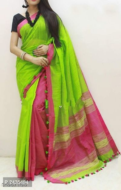 Multicoloued Cotton Silk Saree with Blouse piece