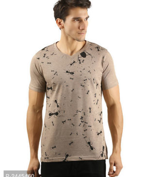 Men's Brown V Neck Tees Cotton Casual T-Shirts