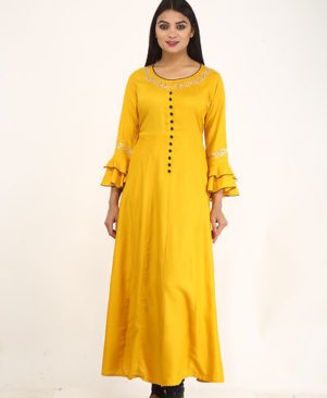 Yellow Embellished Rayon Flared Heavy Bottom Kurti