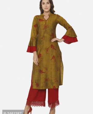 Printed Multicoloured Straight Polyester Kurti for Women's