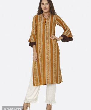 Striped Multicoloured Straight Polyester Kurti for Women's