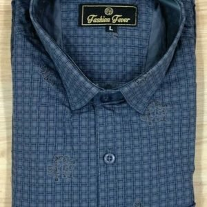 Cotton Blend Checked Slim Fit Casual Shirt