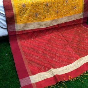 jute silk handlooms embroidery saree with blouse piece