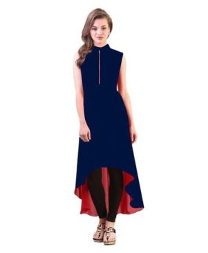 Navy Blue Crepe Solid Kurta