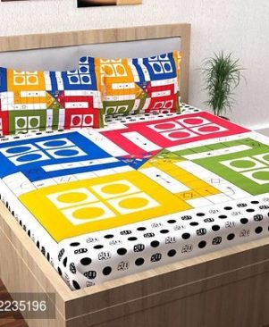 Multicoloured Double Bed Sheet With Two Pillow Cover