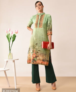 Green Colour Crepe Straight Stitched Kurti for Women's